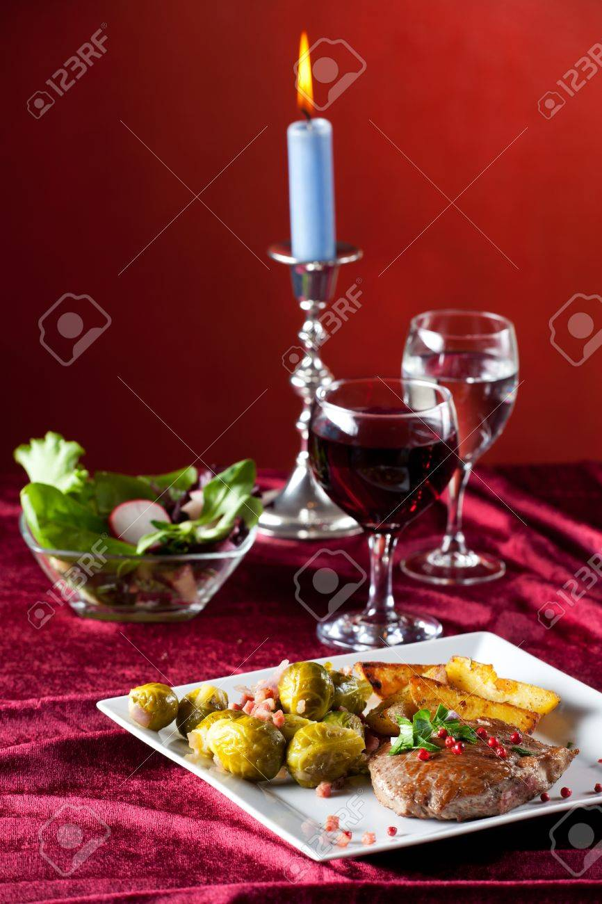 steak with red pepper corns and brussel sprouts Stock Photo - 11260924