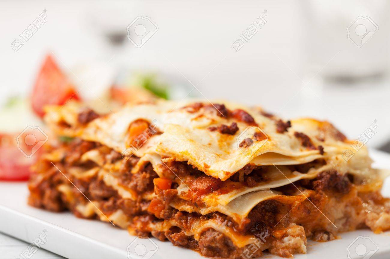 italian lasagna on a square plate Stock Photo - 14379323
