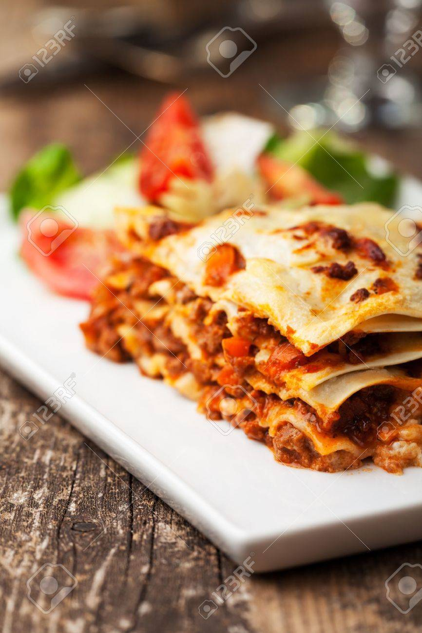 italian lasagna on a square plate Stock Photo - 14478209