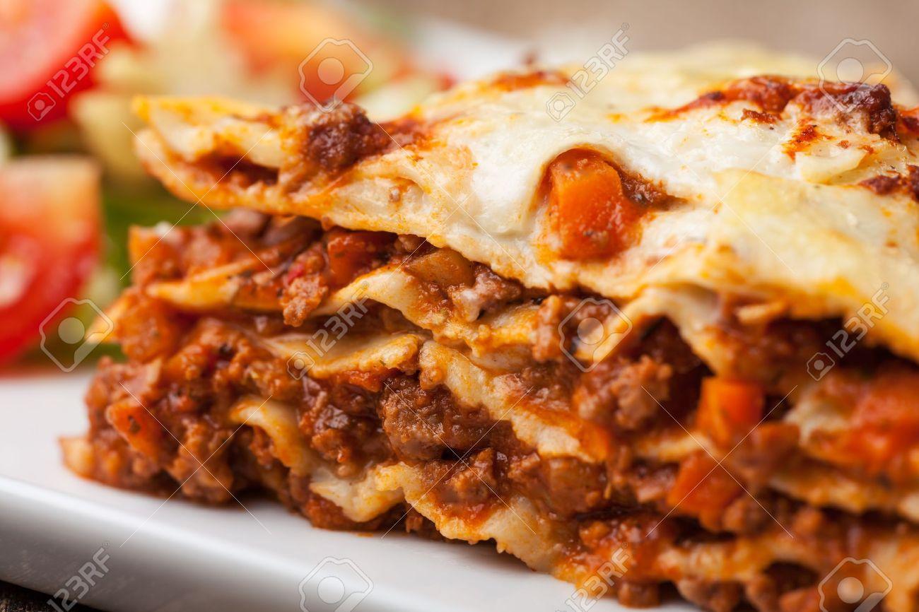 italian lasagna on a square plate Stock Photo - 14546335