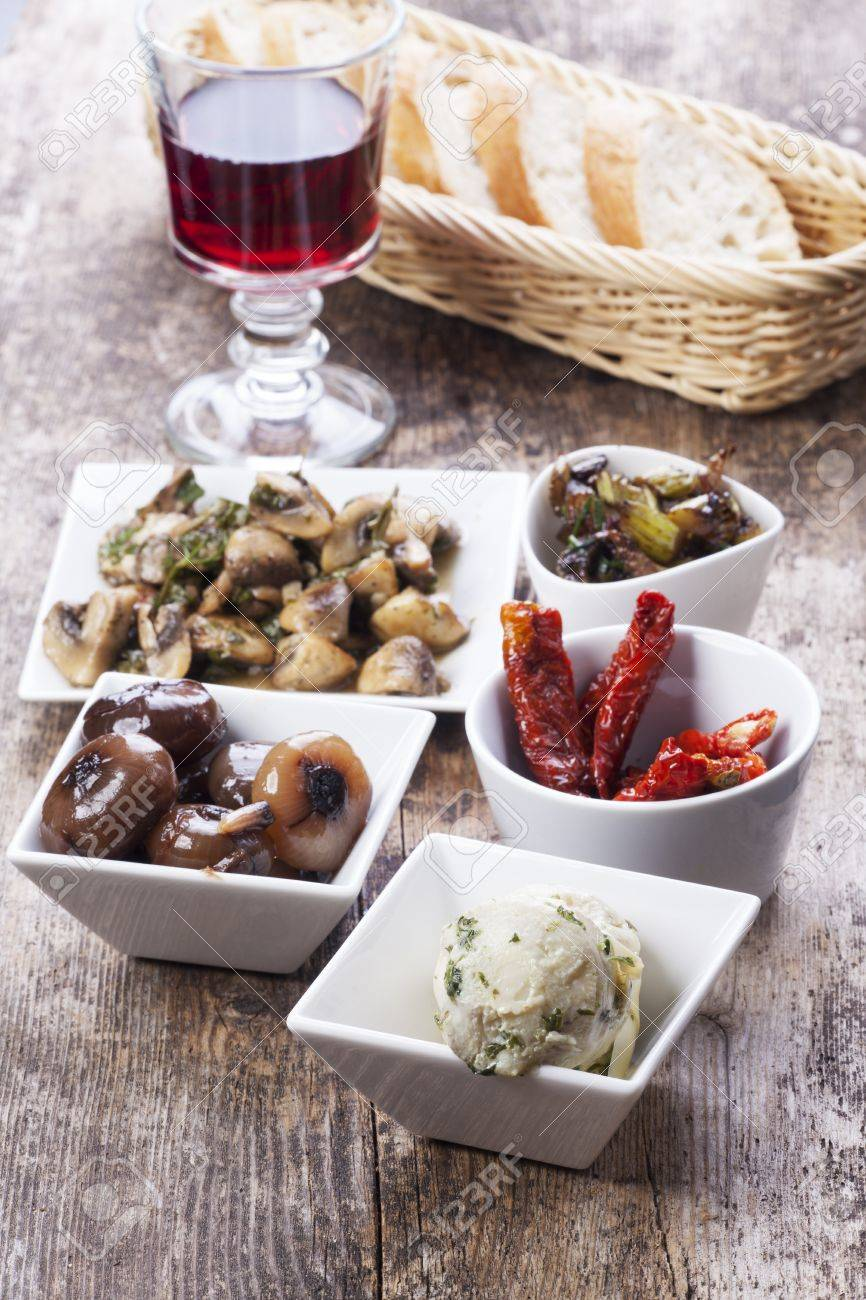 different italian antipasti and red wine Stock Photo - 16259586