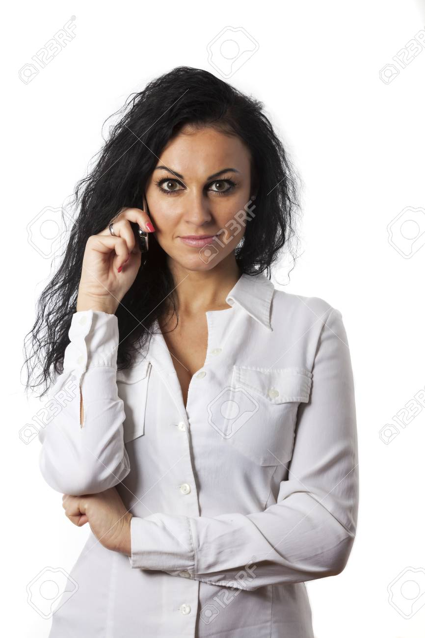 young woman on her cell phone Stock Photo - 17137001