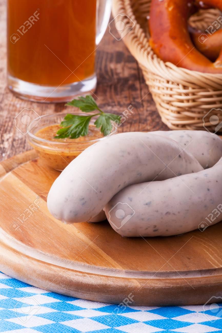 bavarian white sausages with pretzel Stock Photo - 18937527