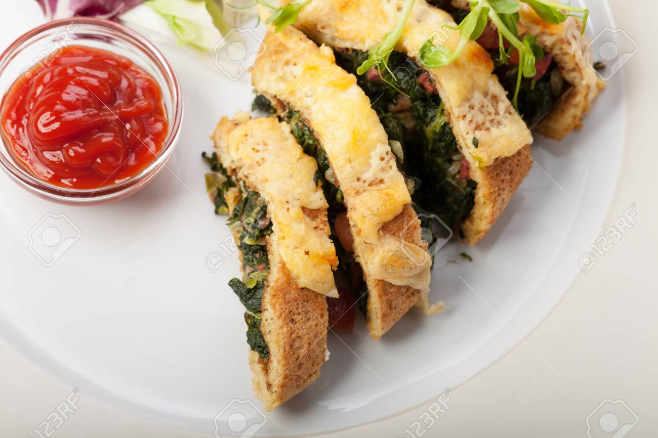 slices of spinach omelette Stock Photo - 19087070