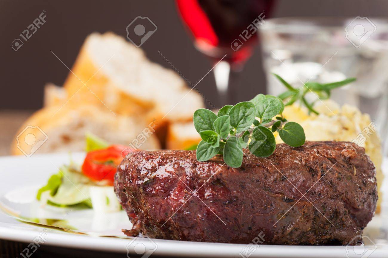 grilled steak with oregano Stock Photo - 19211315