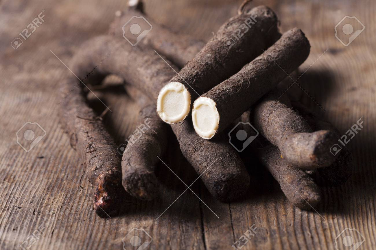 salsify vegetables on wood Stock Photo - 24741813