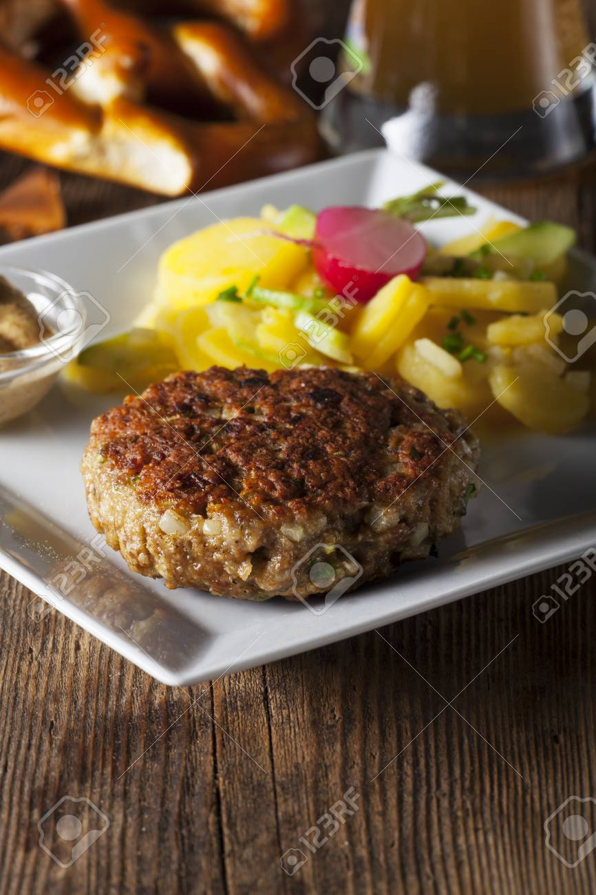 bavarian meatloaf with potato salad Stock Photo - 25451022