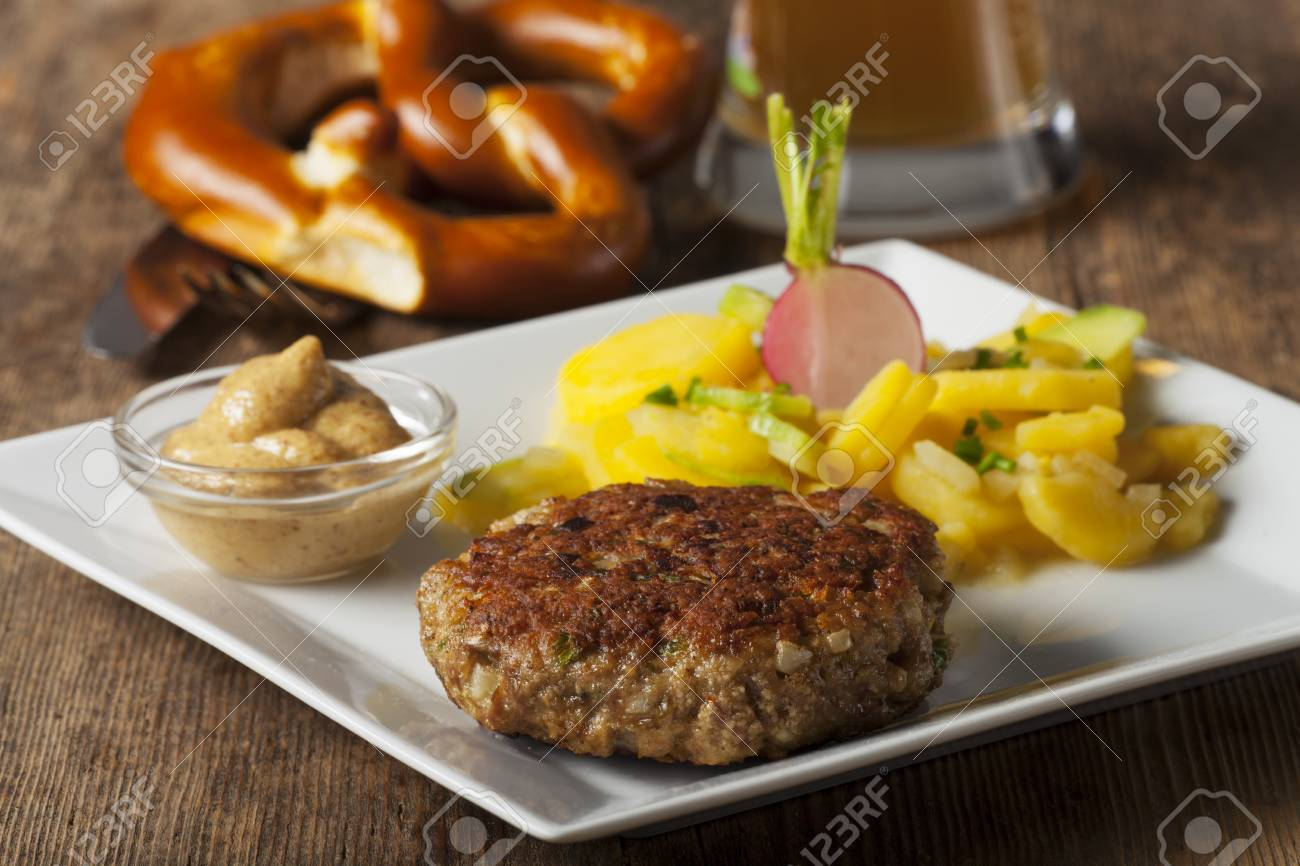 bavarian meatloaf with potato salad Stock Photo - 25682339