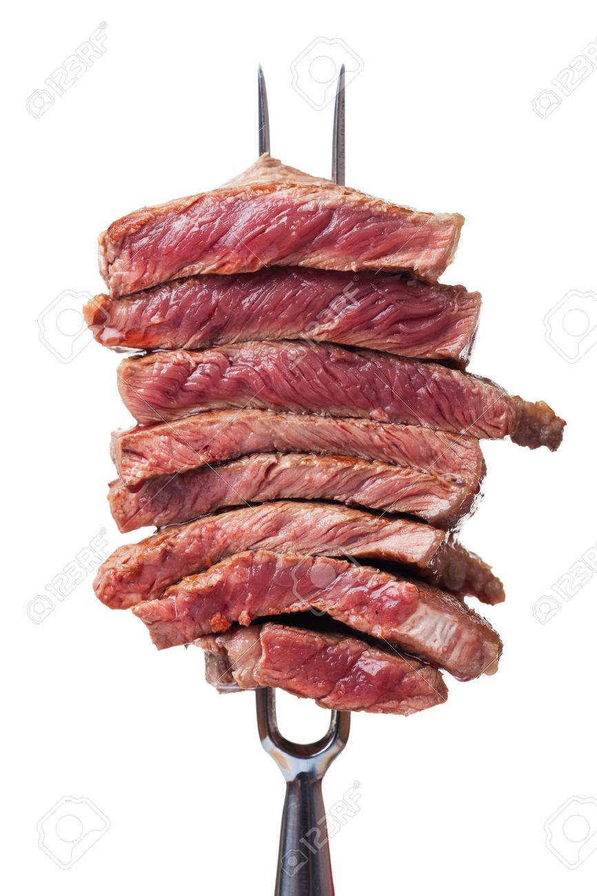 slices of steak on a meat fork Stock Photo - 26118953