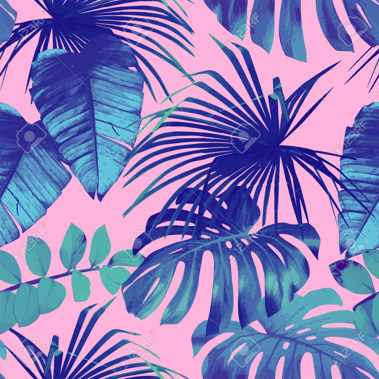 Summer exotic floral tropical palm, banana leaves in blue style. Pattern seamless on the pink background. Plant flower nature wallpaper - 60902529