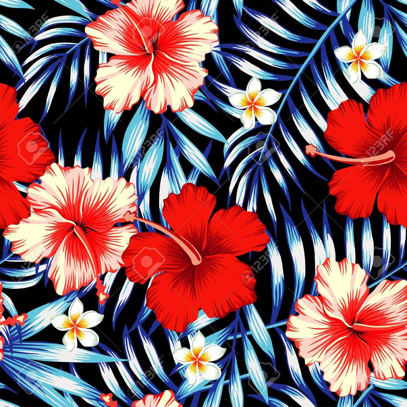 Red And Pink Hibiscus Flower On A Background Of Palm Leaves And