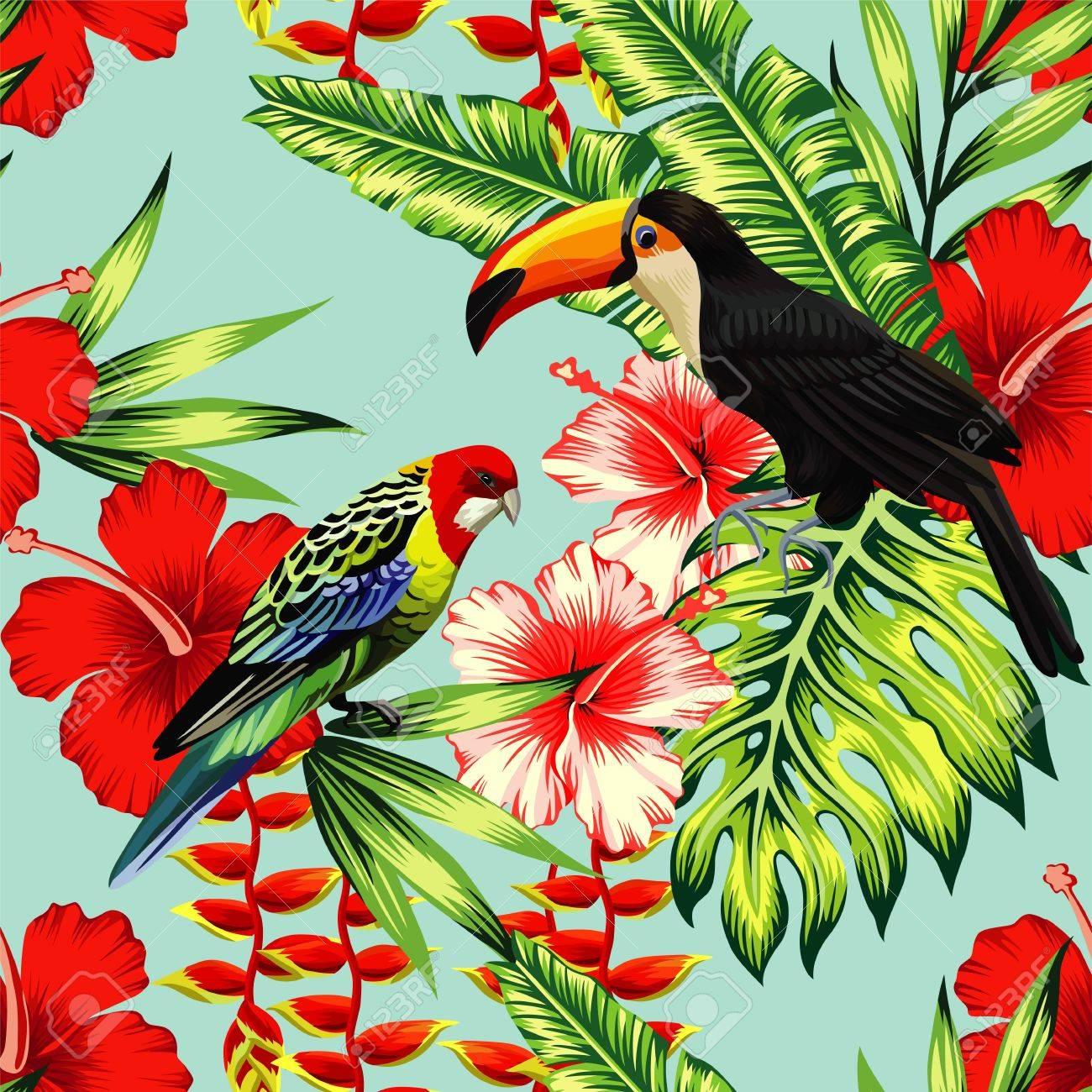 Tropic Bird Toucan And Multi Color Parrot On The Background Exotic ...