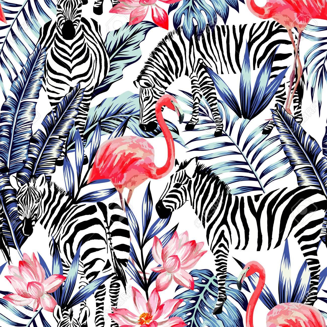 Flamme Rose Exotique Zebre Sur Fond Feuille De Palmier Tropicale D
