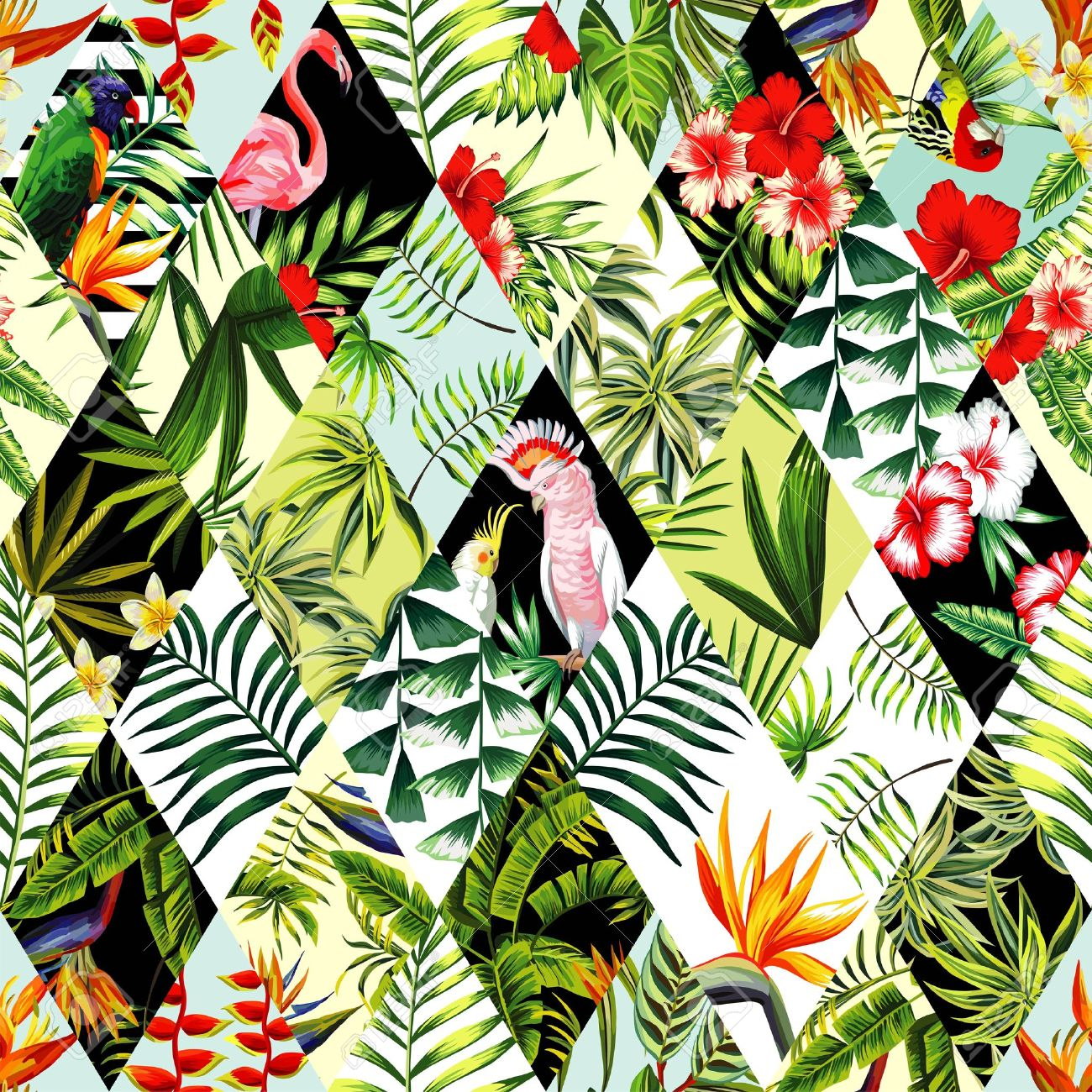 Exotic Beach Trendy Seamless Pattern Patchwork Illustrated Floral