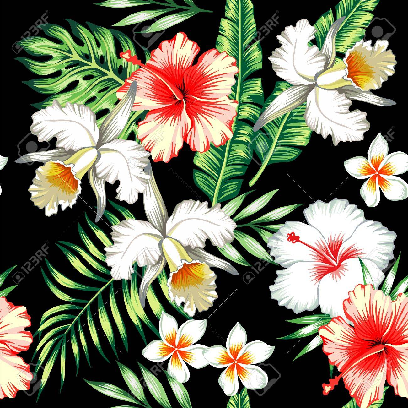 Tropic Summer Flower Hibiscus Lily And Orchid Seamless Pattern With Palm Banana Leaf Plants