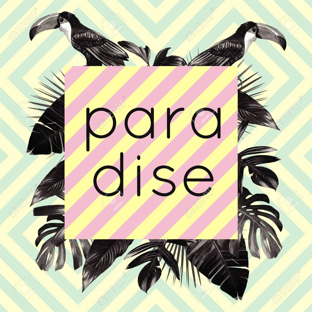 Das Wort Paradies Umrahmt Exotischen Tropischen Palme ...