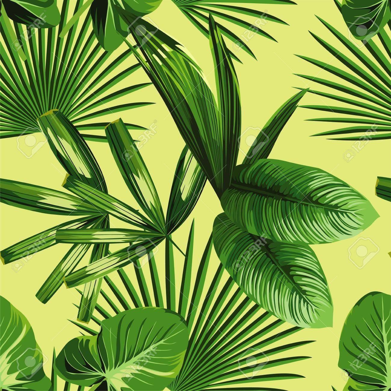Tropic Print Ete Plante Jungle Exotique Tropical De Feuille De