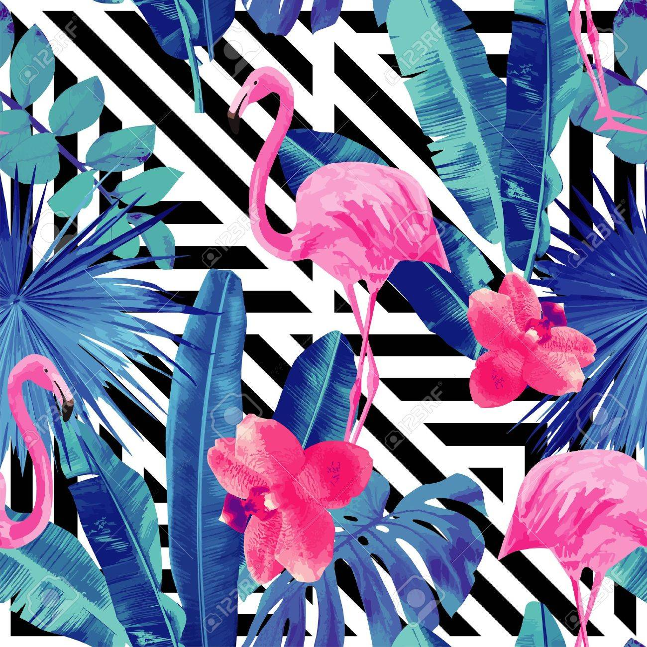 Watercolor Tropic Pink Flamingos And Orchid With Of Trendy Blue