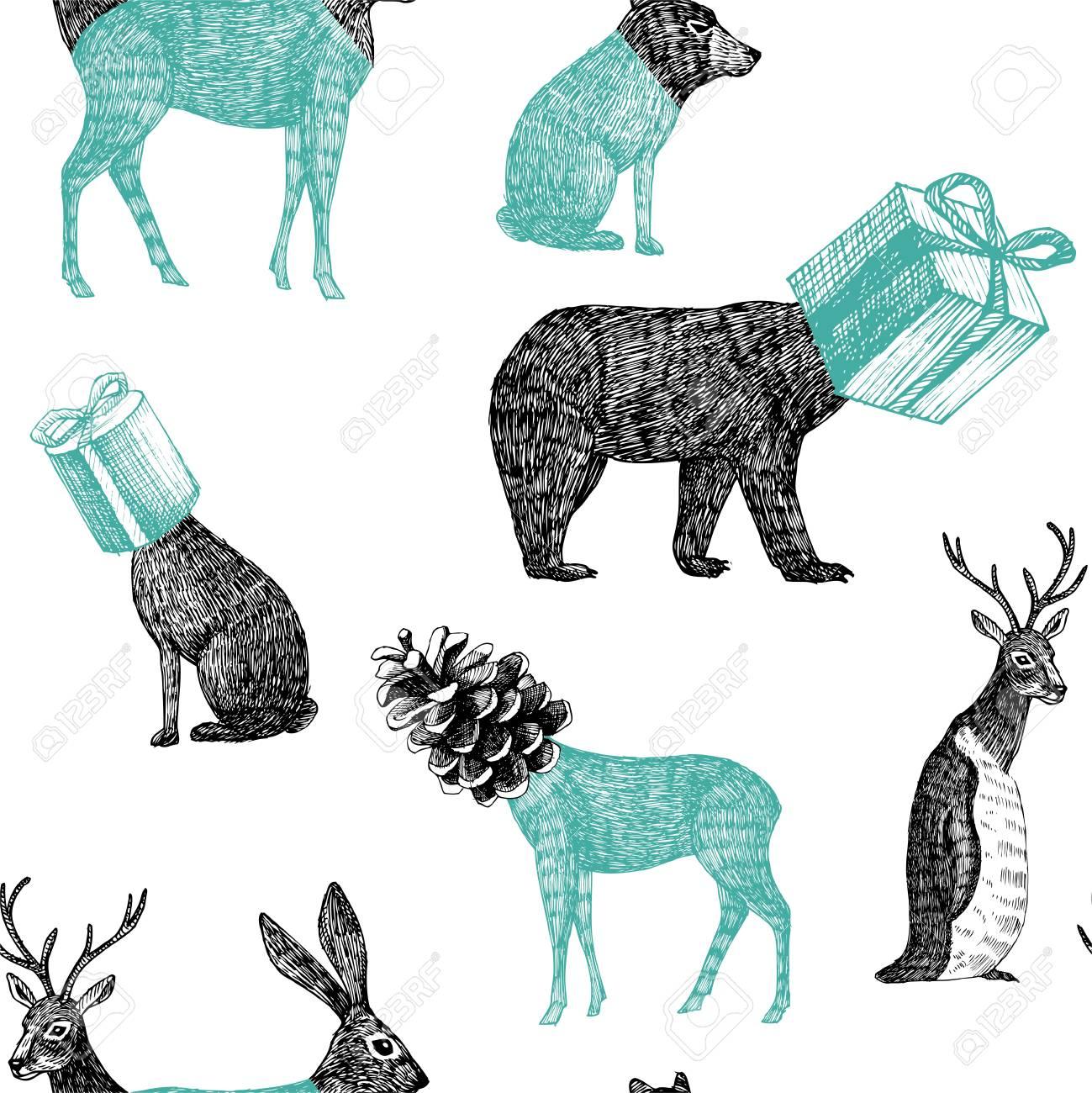 トレンディな手の冬クリスマス イラスト描かれた黒の鉛筆動物