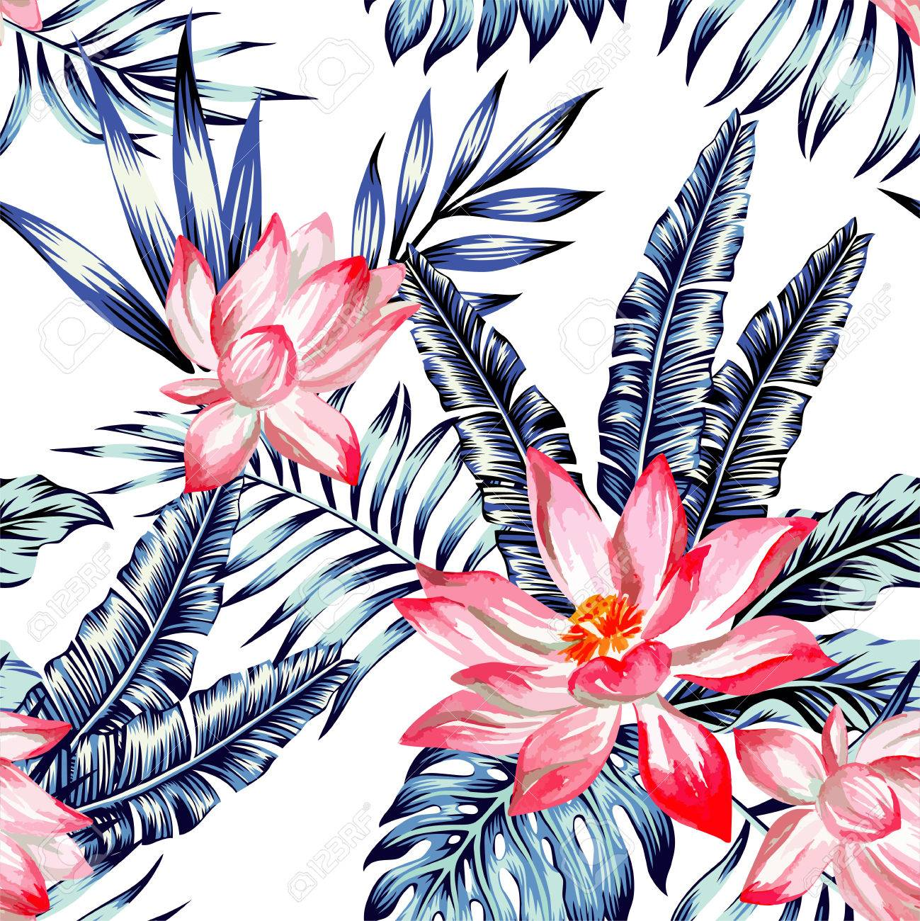 Floral Fashion Tropic Wallpaper With Leaves Of Banana Palm In A Trendy Blue Style Stock