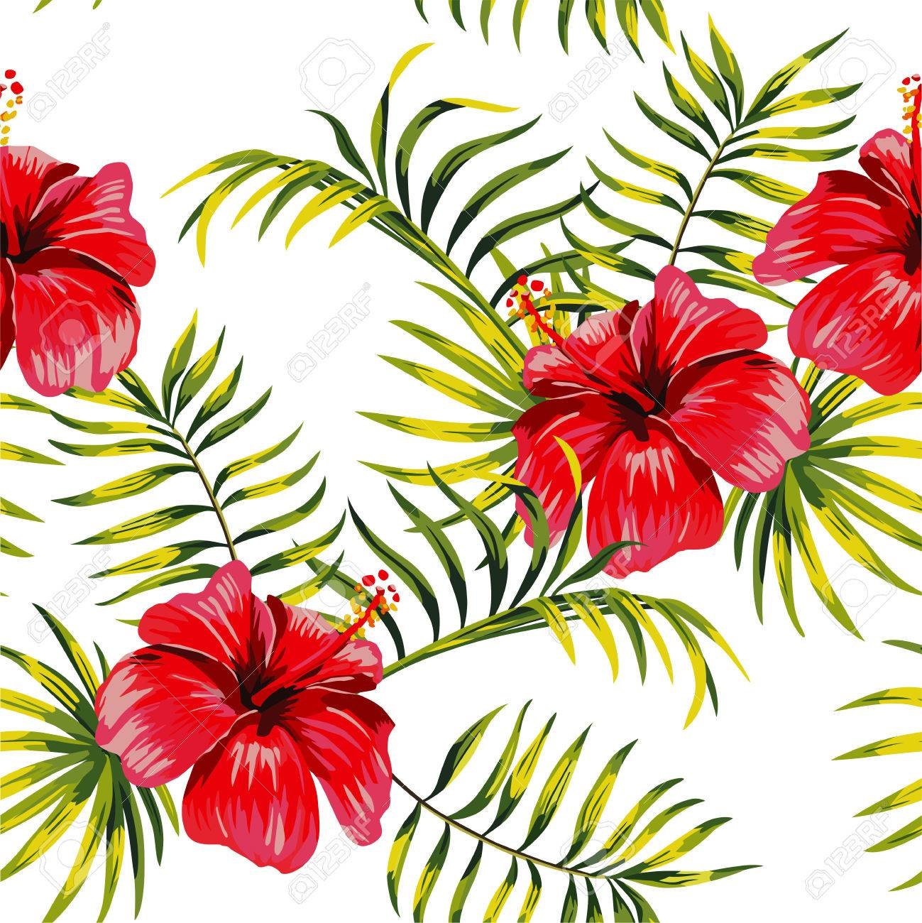 Fashion Painting Floral Print Seamless Exotic Pattern With Tropical