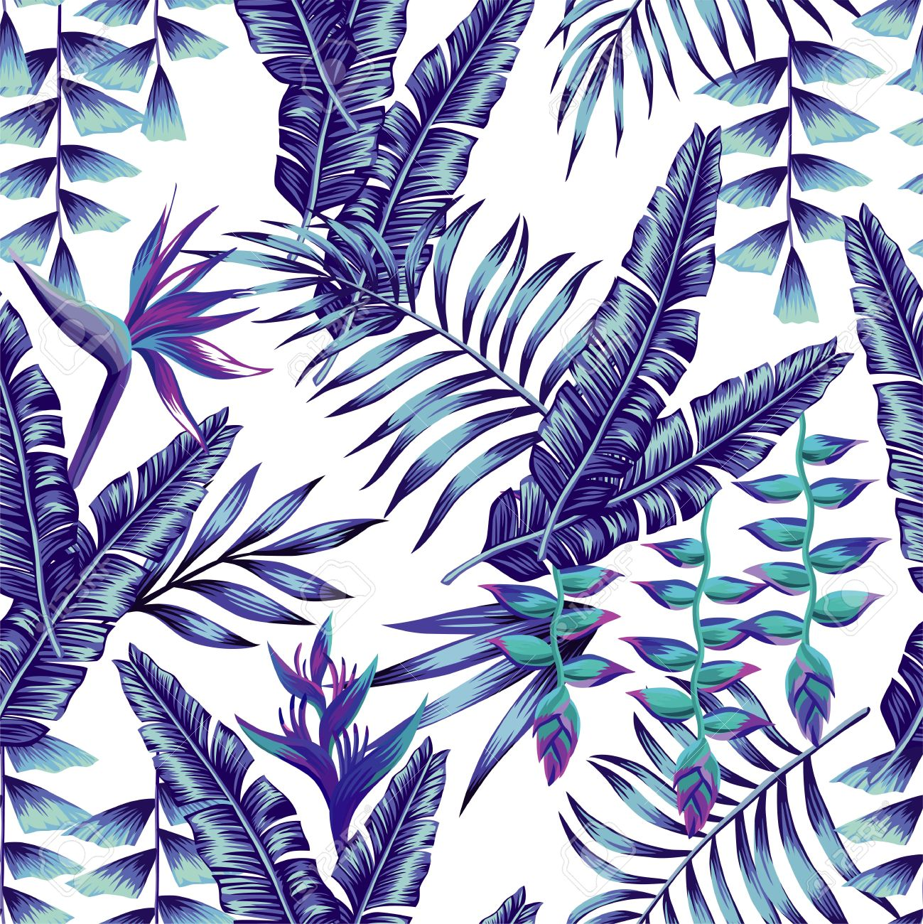 Tropical Flower Seamless Pattern Print Wallpaper Summer Plant A Banana Palm Leaves In Trendy Blue Style