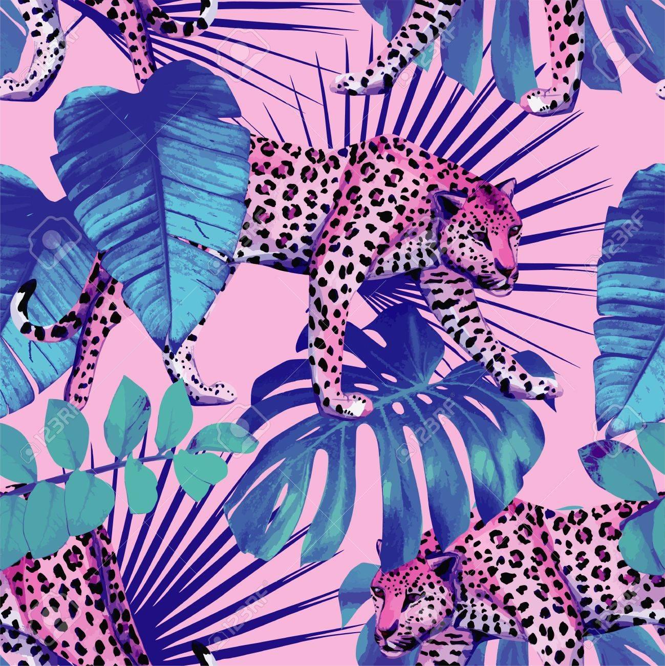 Papier A Peindre Motif seamless papier peint peinture paume plantes hawaii tropique d'été laisse  avec motif léopard dans un style bleu branché sur fond rose