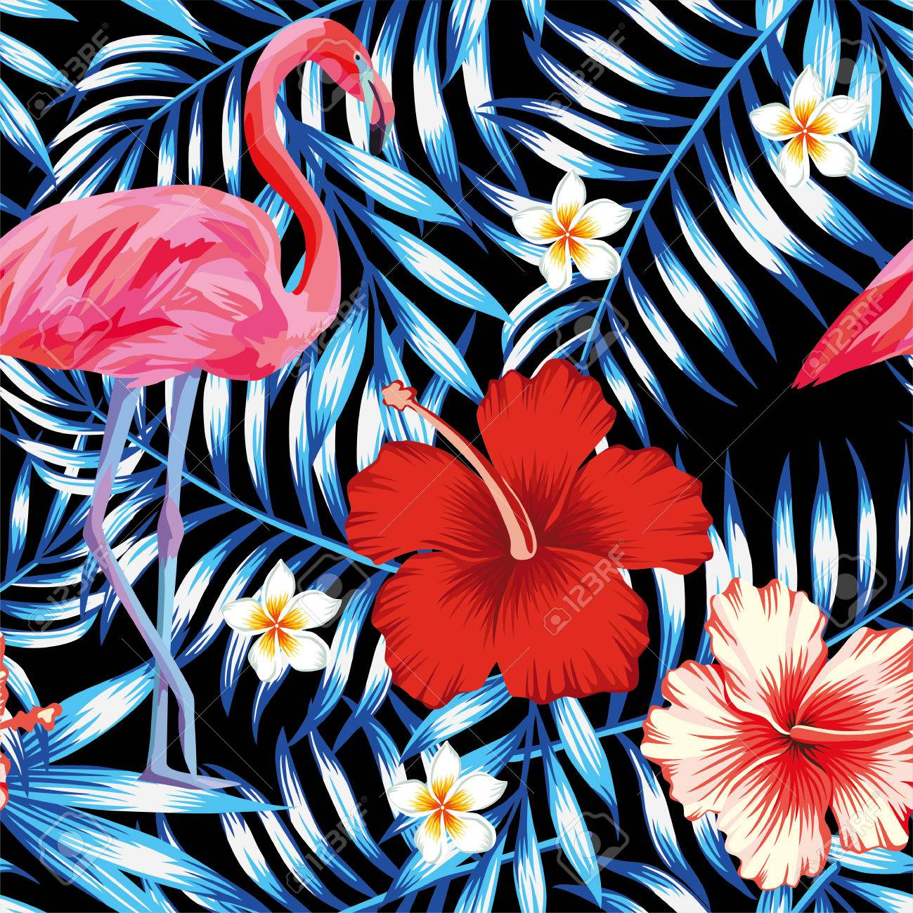 Bird Pink Flamingo Hibiscus And Frangipani Flower On A Background Of Palm Leaves In Trendy