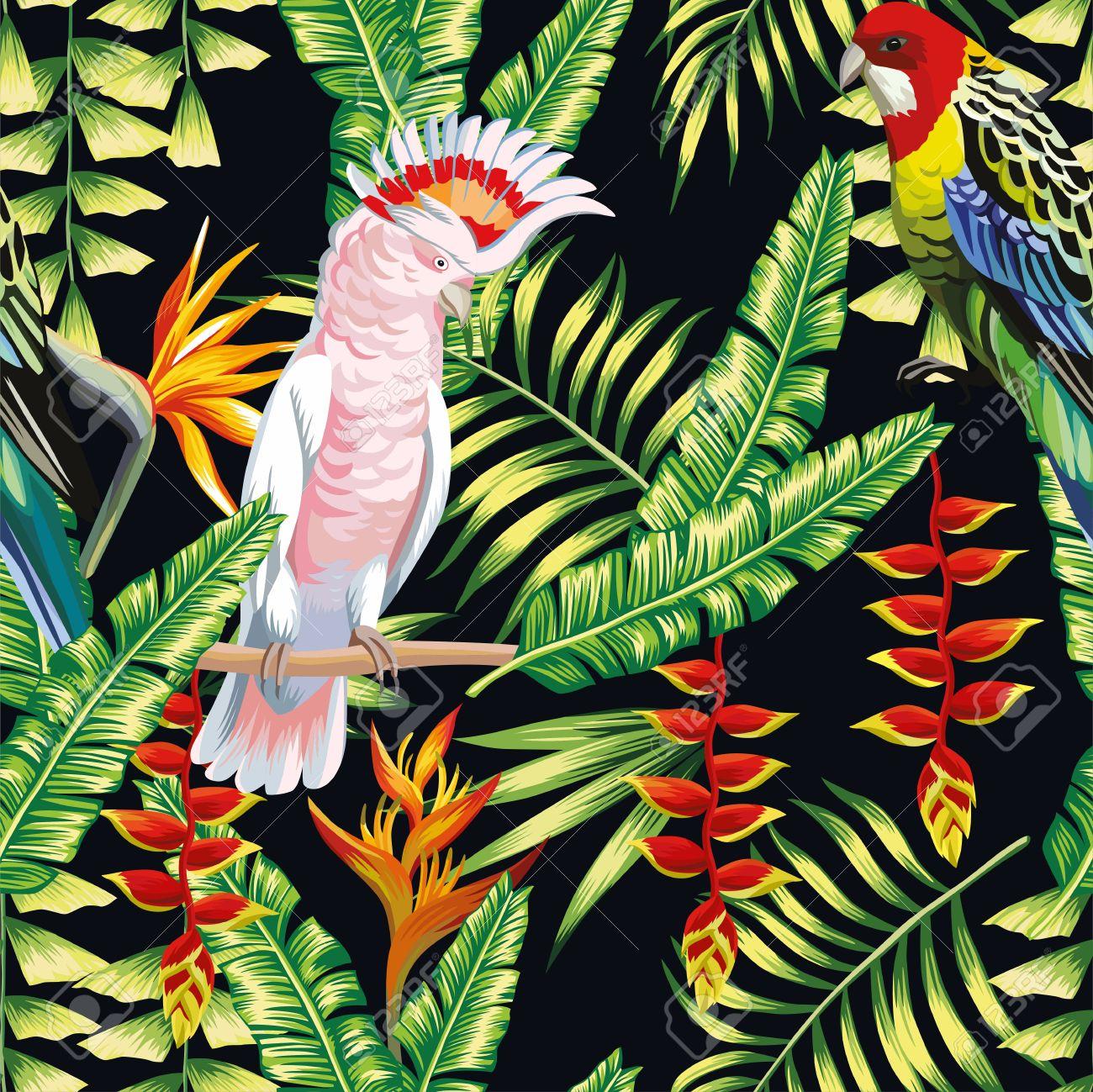 Papier Peint Avec Perroquet tropic ara oiseaux et multicolore perroquet sur l'arrière-plan exotiques  pinces de homard fleur, strelitzia et de feuilles de palmier. imprimer  l'été