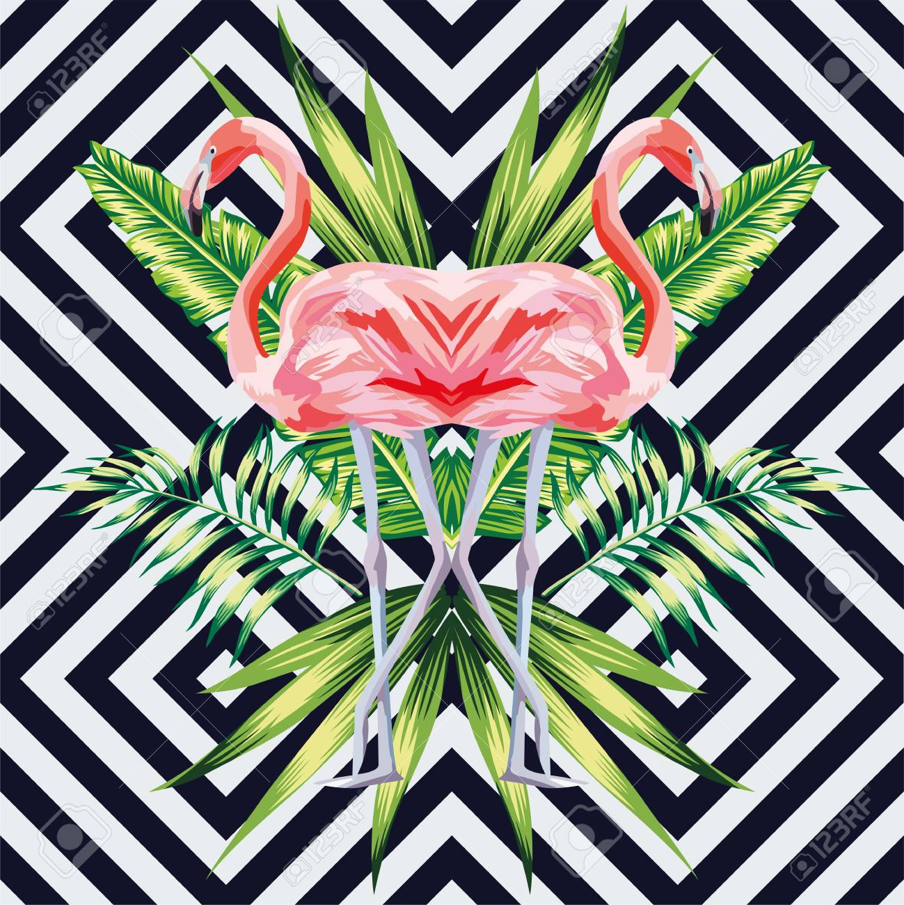bird pink flamingo with tropical banana leaves in mirror image style on geometric background. jungle floral wallpaper - 122038576