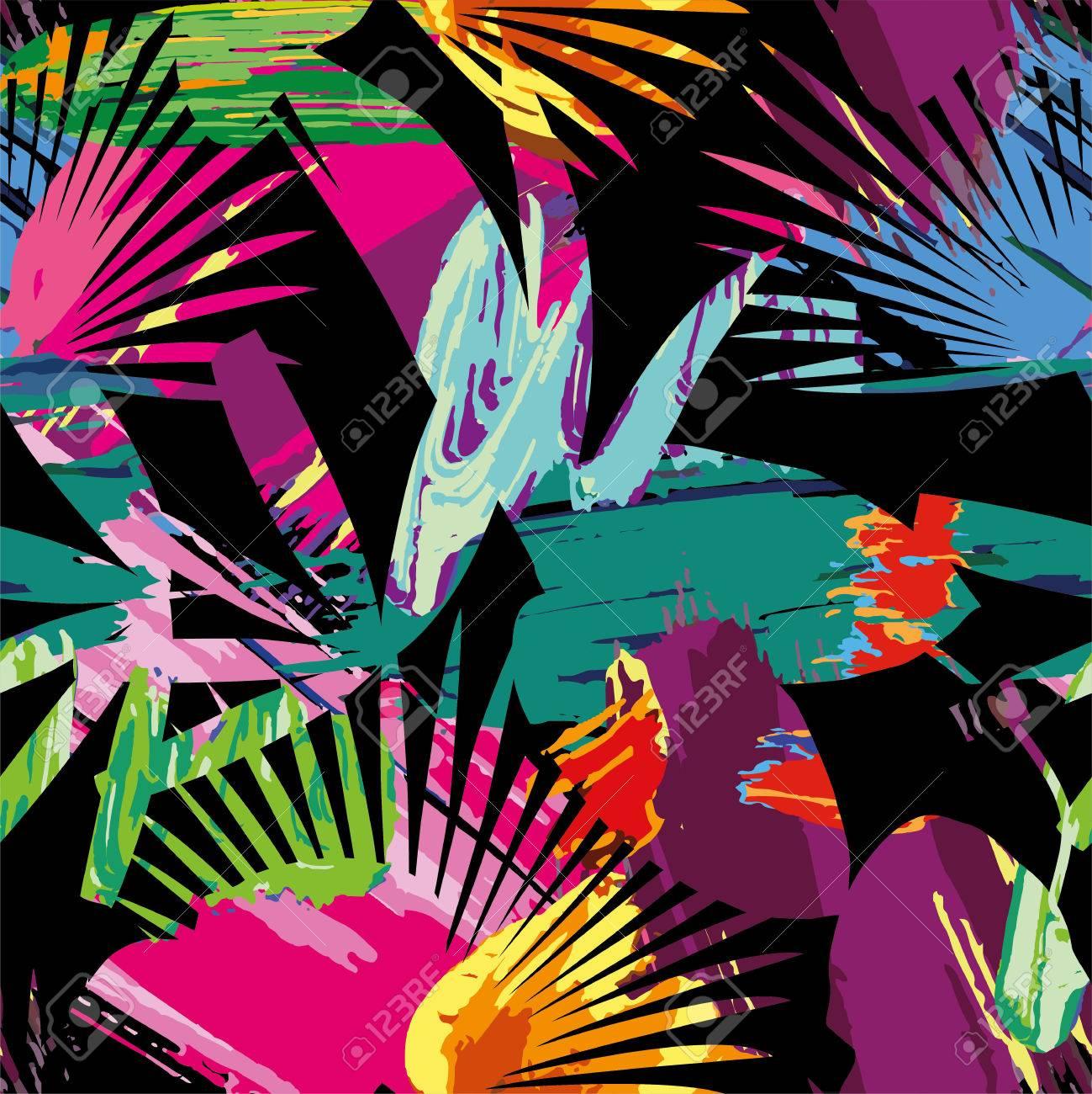 Print Ete Plante De Jungle Exotique Feuilles De Palmiers Tropicaux Modele Peinture Transparente Sur Le Fond Noir Fond D Ecran Nature Avec Masque D Ecretage Clip Art Libres De Droits Vecteurs Et Illustration