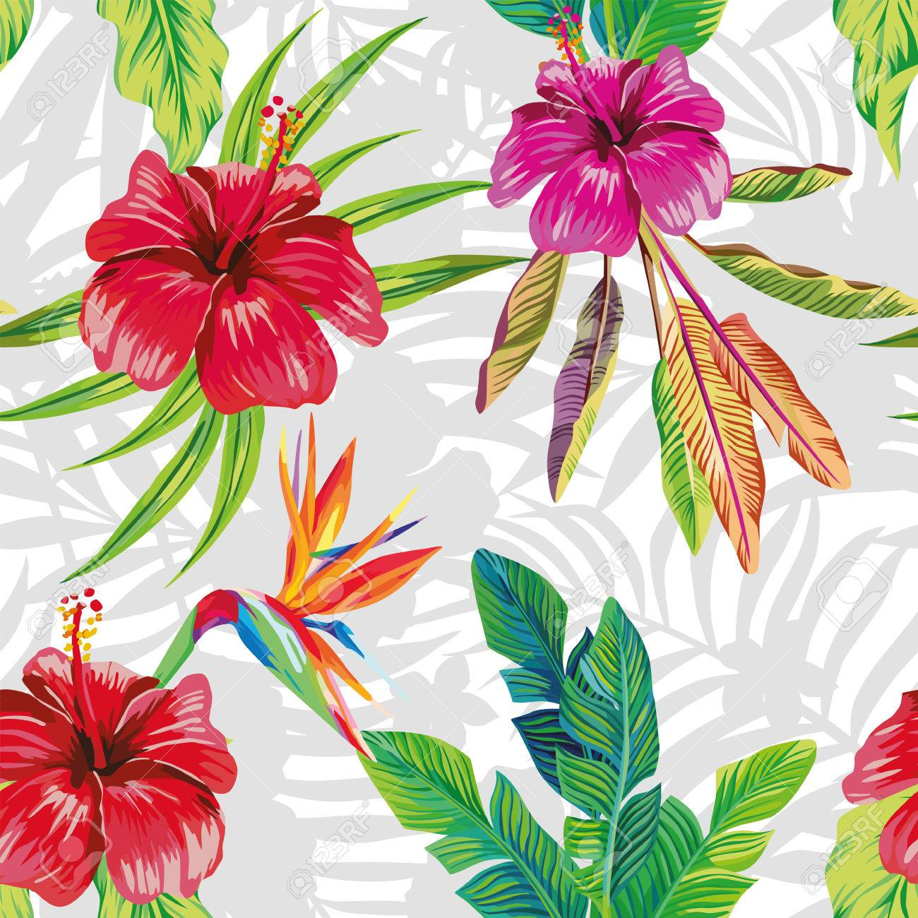 Seamless vector pattern composition made from hibiscus flowers seamless vector pattern composition made from hibiscus flowers and a bird of paradise with tropical banana izmirmasajfo