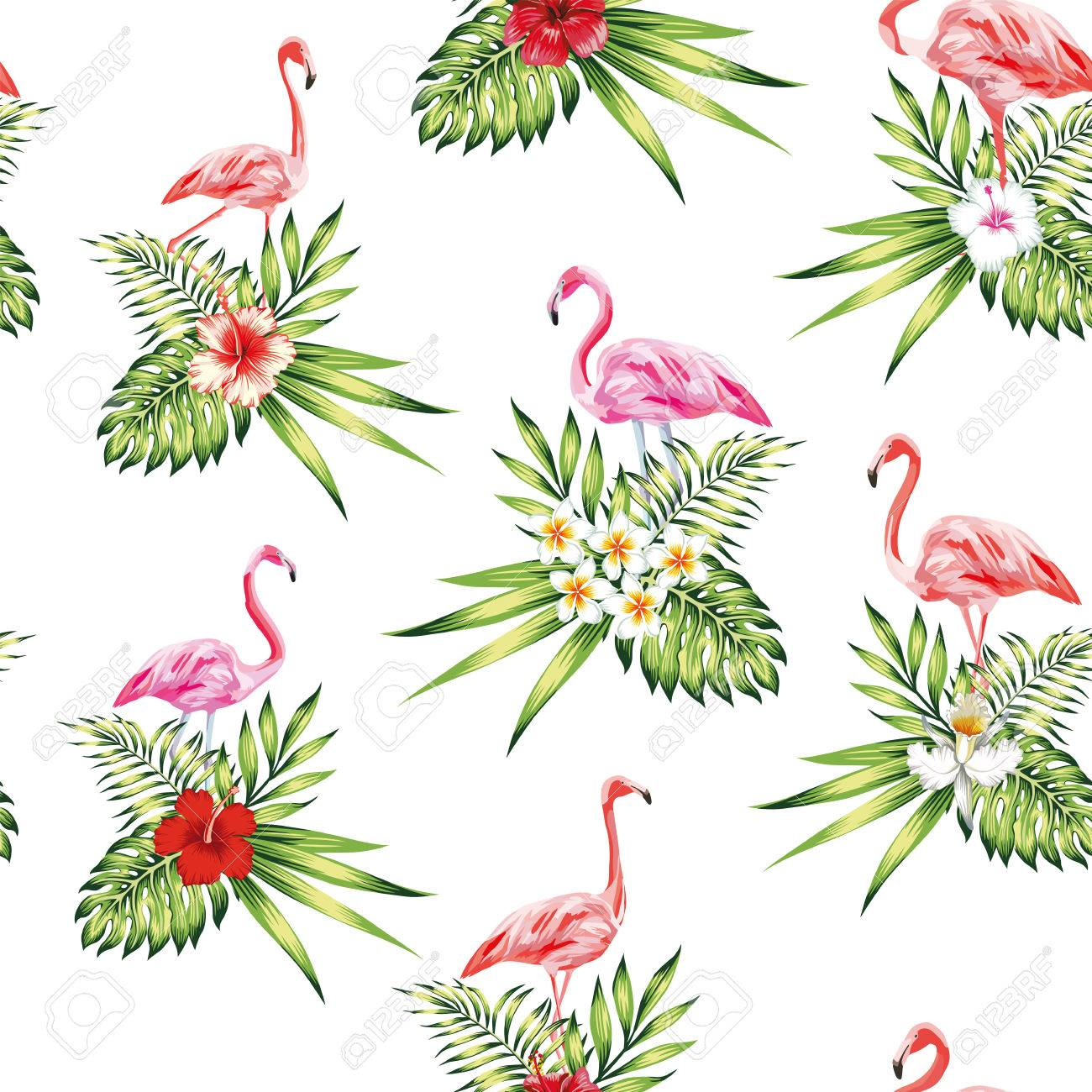 Seamless Pattern Tropical Bird Pink Flamingo With Flowers And