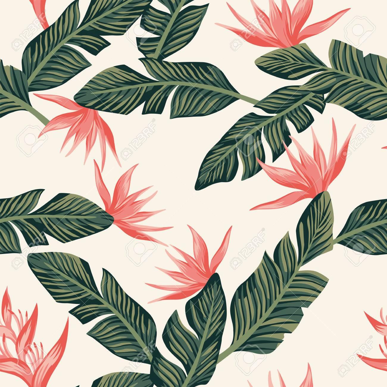 Beach Cheerful Seamless Pattern Wallpaper Of Tropical Dark Green