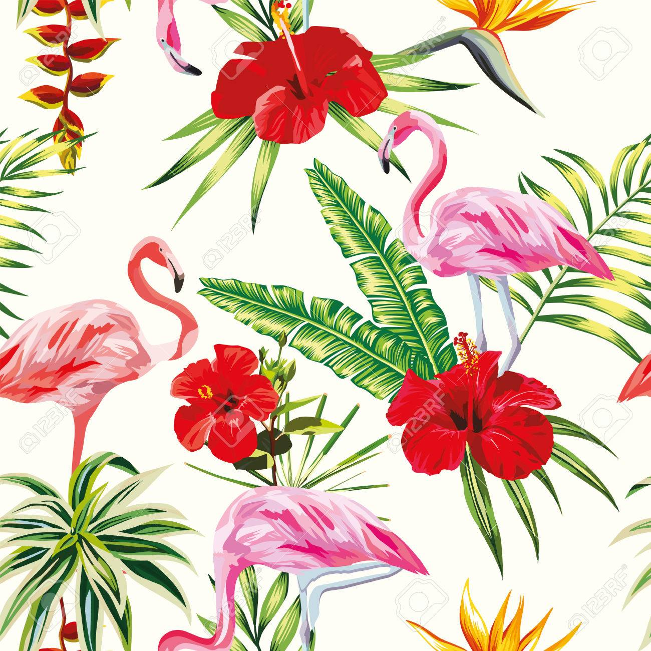 Beach Cheerful Seamless Pattern Of Wallpaper From Tropical Green
