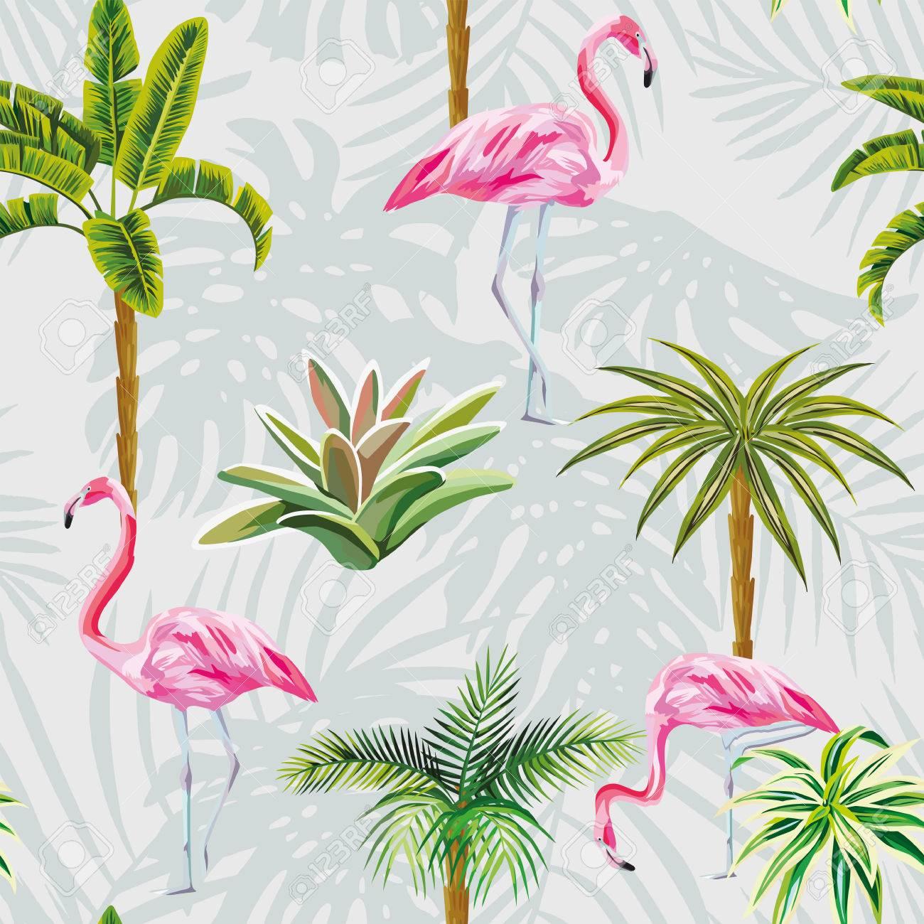 Magnifiques Oiseaux Tropicaux Flamants Roses Avec Des Palmiers Et