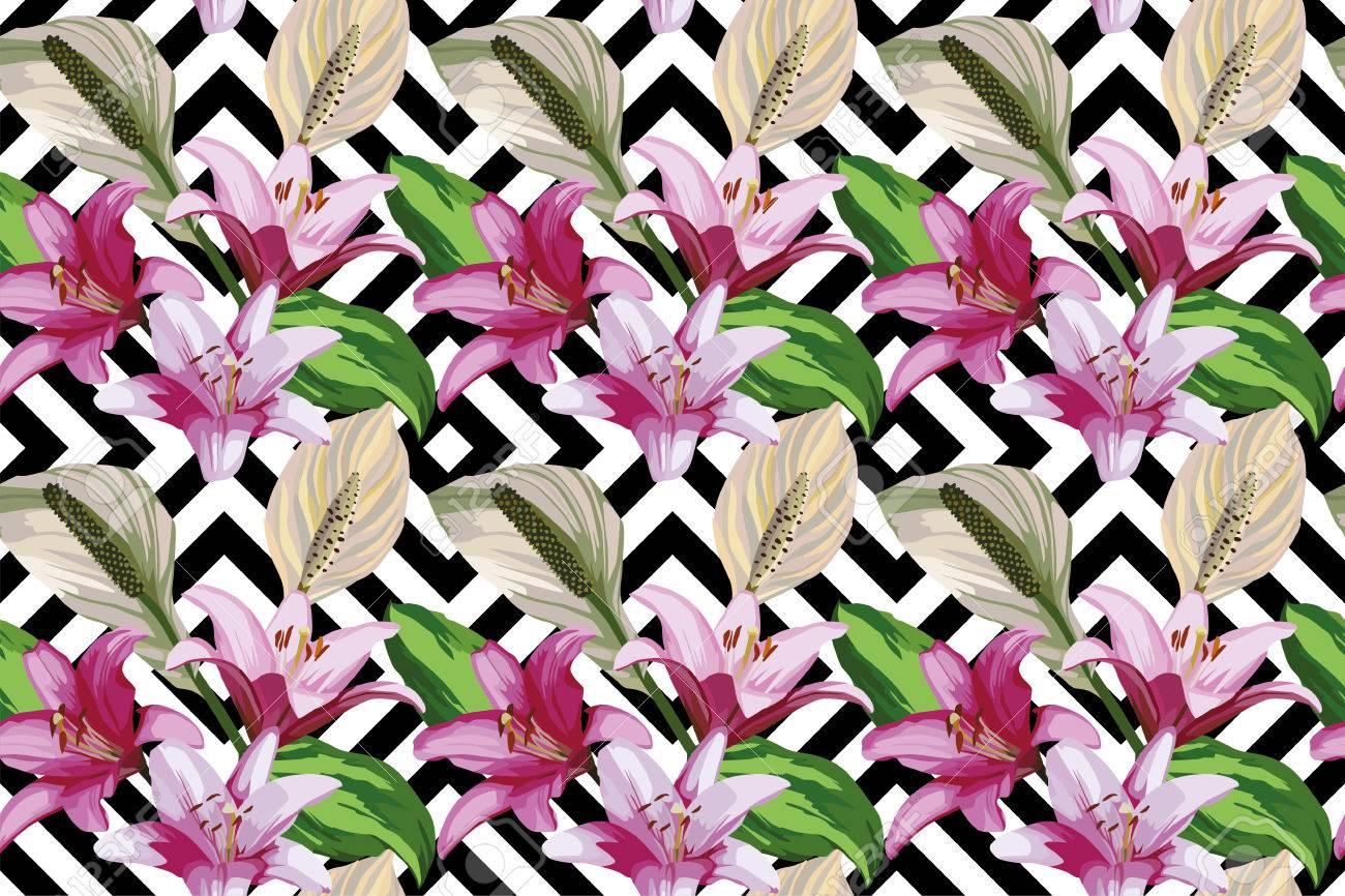 Floral hand drawn composition of beautiful flowers of lily seamless floral hand drawn composition of beautiful flowers of lily seamless wallpaper pattern geometric black white izmirmasajfo