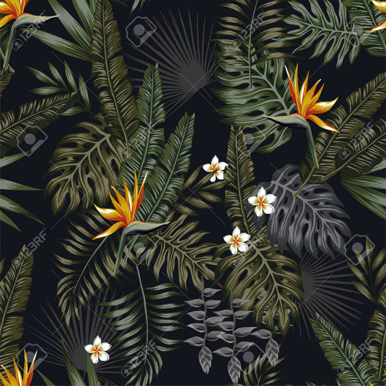 Tropical Leaves And Flowers In The Night Style For Mens Prints