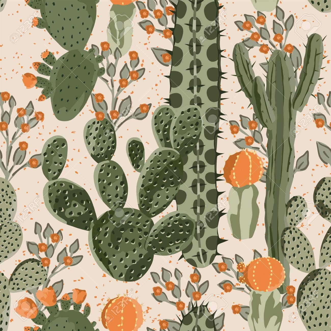 緑ベクトル多肉サボテンとオレンジ色の花のシームレスなパターン