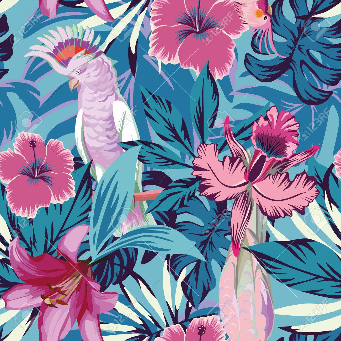 Pink Parrot Tropical Flowers And Plants Blue Background Seamless
