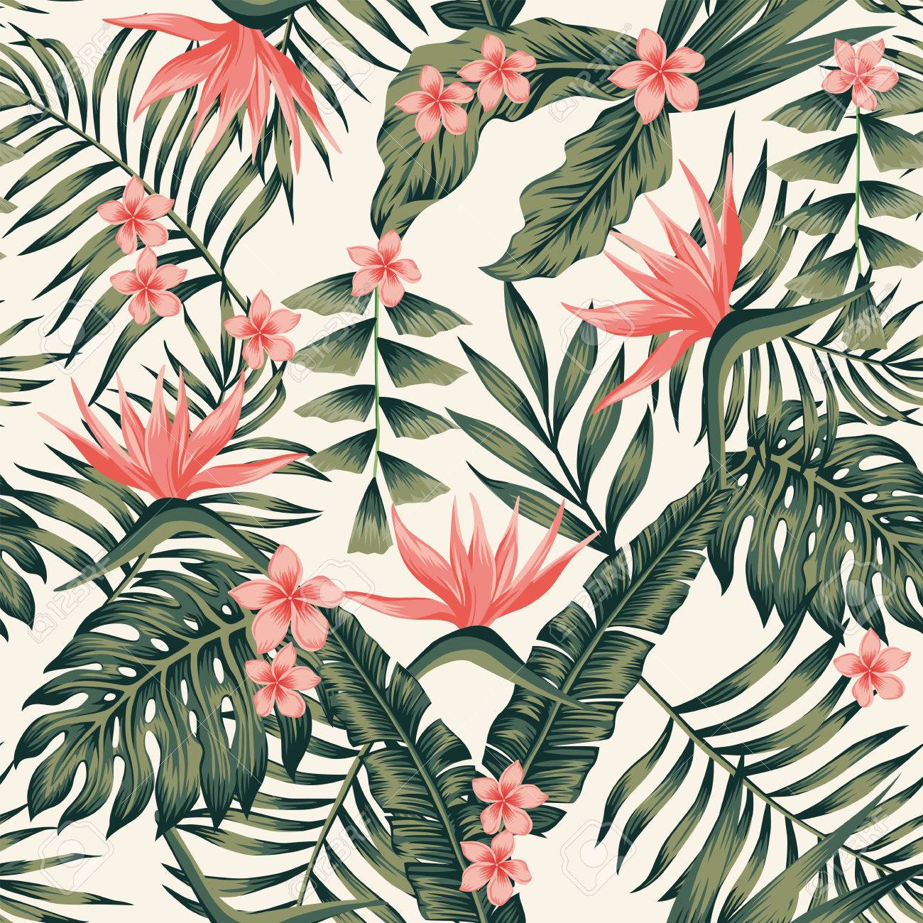 Well-liked Beach Cheerful Seamless Pattern Wallpaper Of Tropical Dark Green  NN56