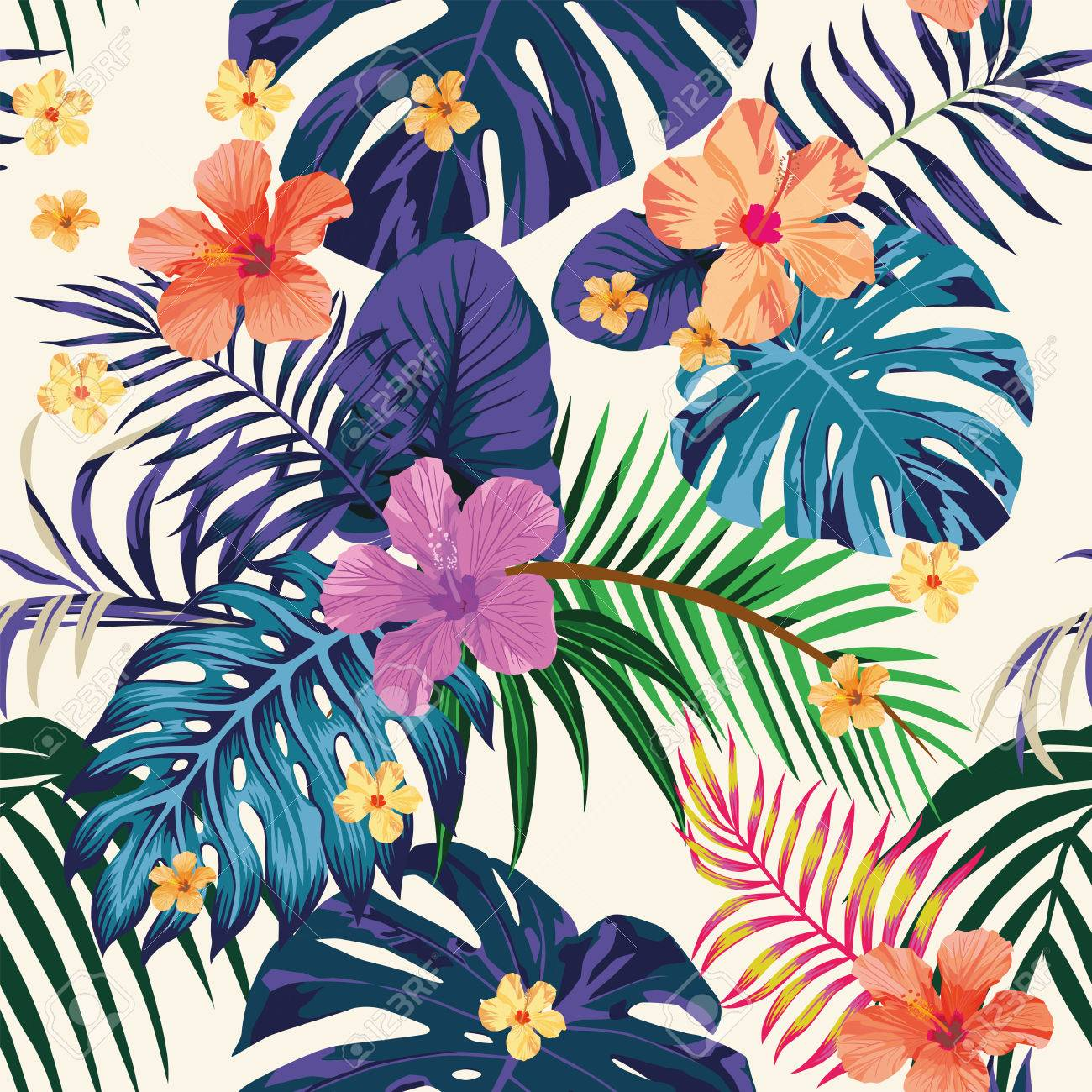 Tropical Abstract Color Print Flowers And Leaves Beach Wallpaper Jungle Exotic Background Stock Vector