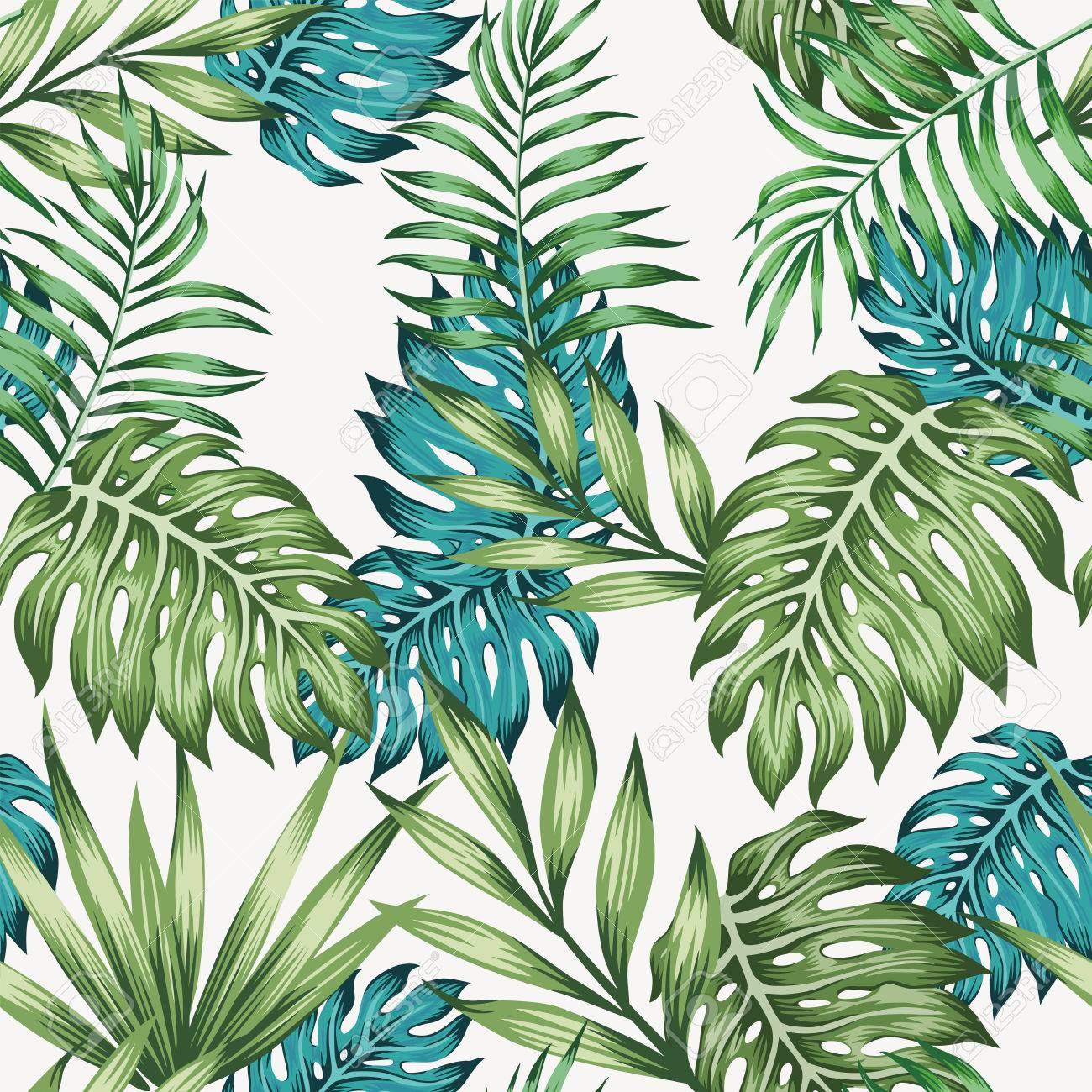 Blue And Green Tropical Leaves Seamless White Background Royalty Free Cliparts Vectors And Stock Illustration Image 85984898 Vector tropical background with palm leaves, jungle plants and white frame. blue and green tropical leaves seamless white background
