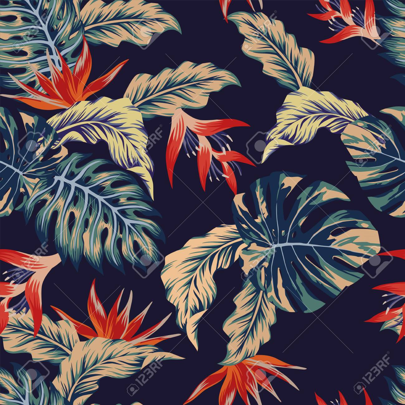 Night tropical jungle print seamless pattern leaves and flowers on the dark blue background - 85984901