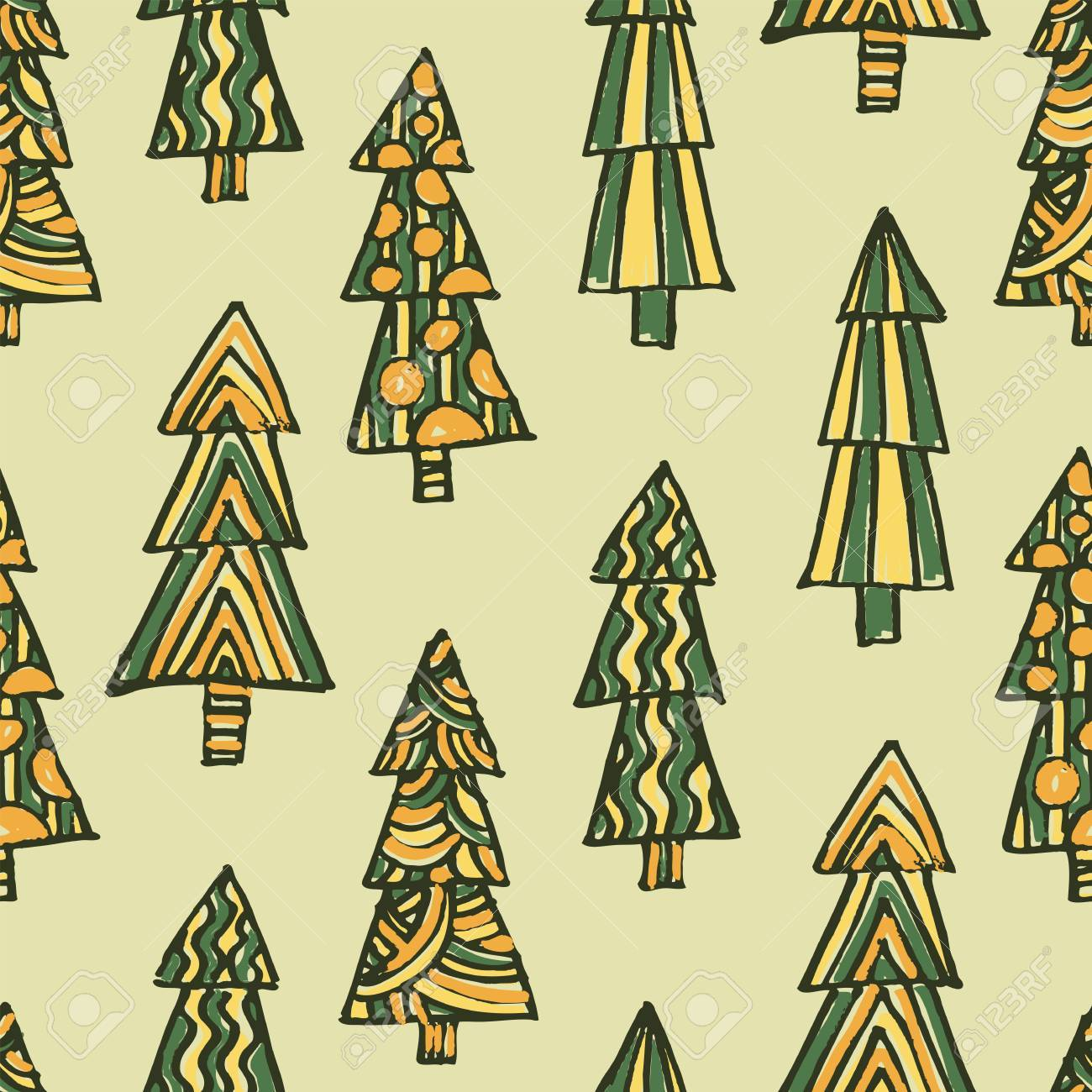 Seamless Pattern Christmas Tree Xmas Background Hand Drawn Wallpaper Stock Vector