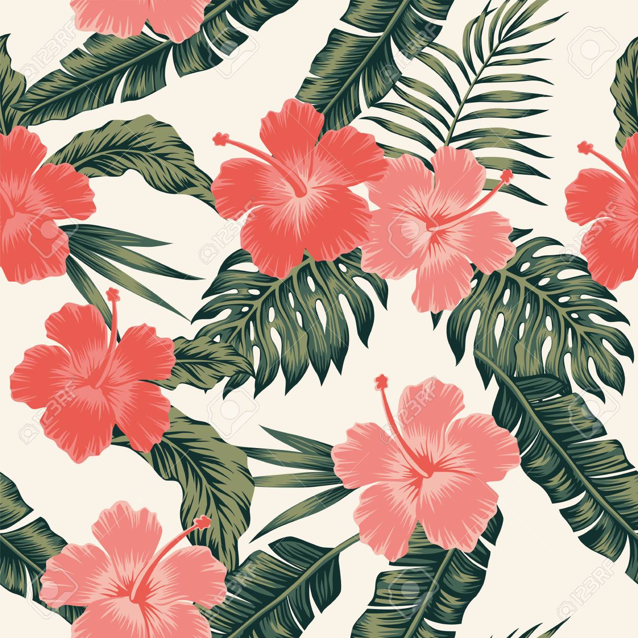 flowers hibiscus abstract color tropical leaves seamless. vector