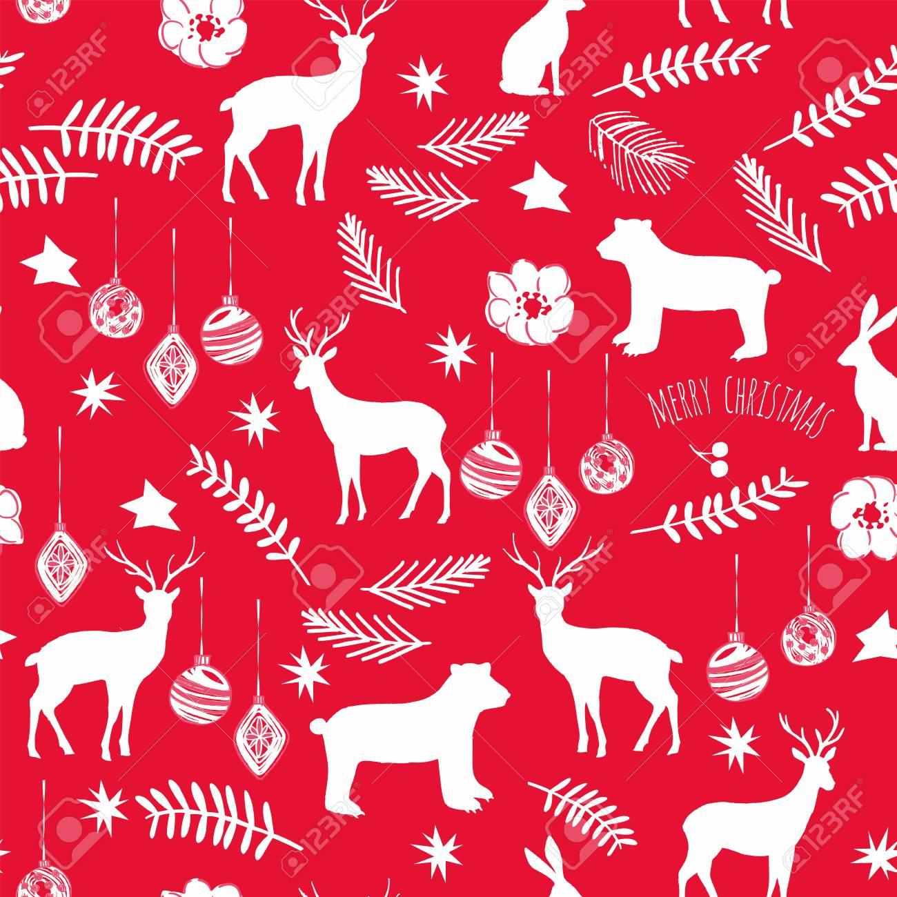 Slogan Merry Christmas Decoration Flower Branch Star Animals
