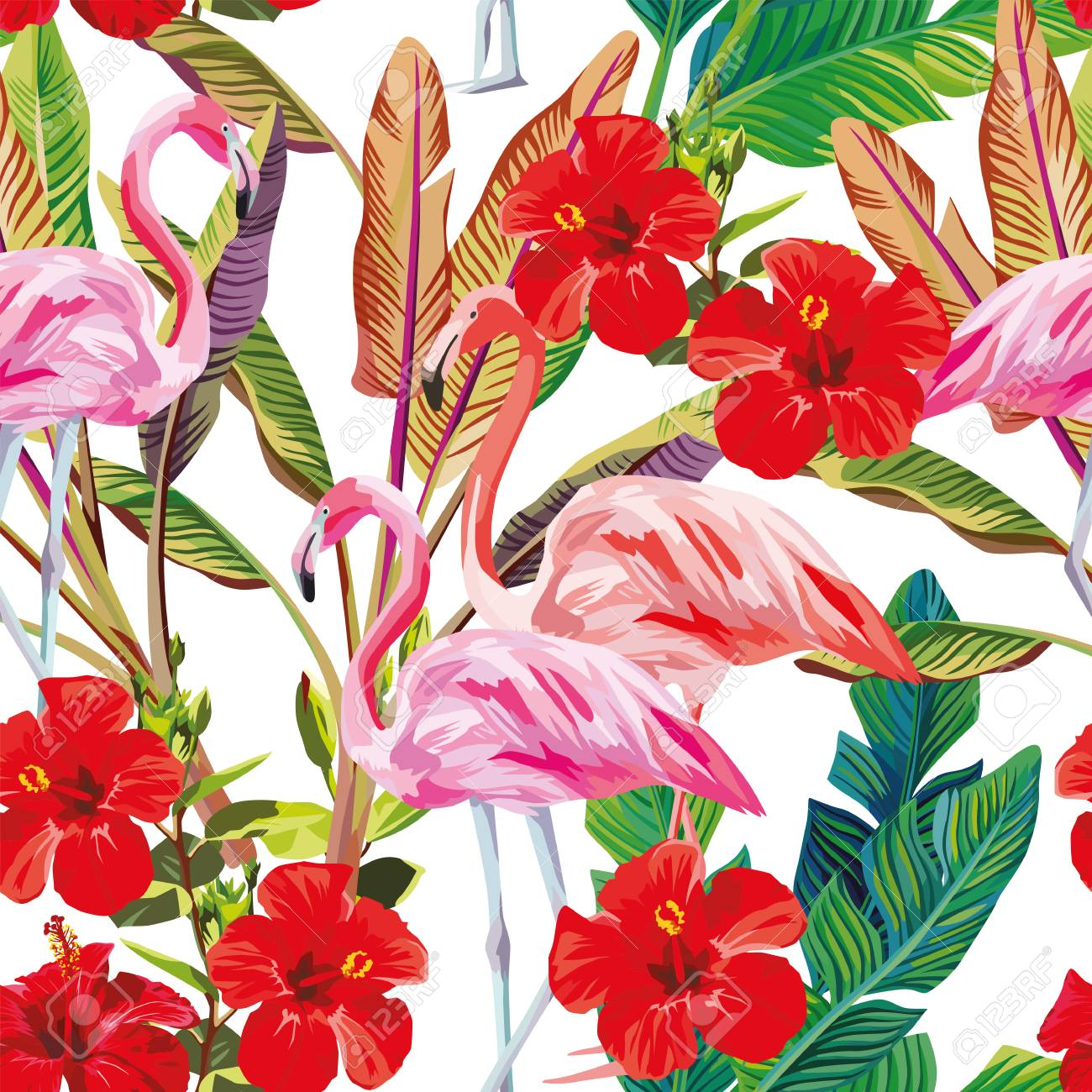 Exotic Vector Print Seamless Tropical Pattern Of Flamingo Hibiscus