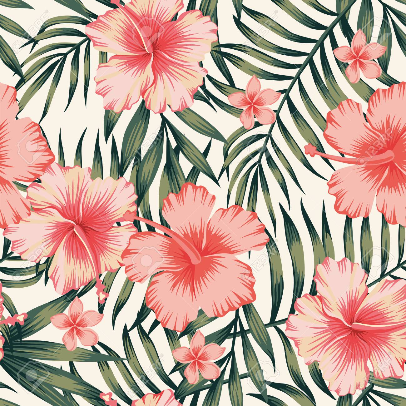 Tropical flower with palm leaves seamless pattern - 91346039