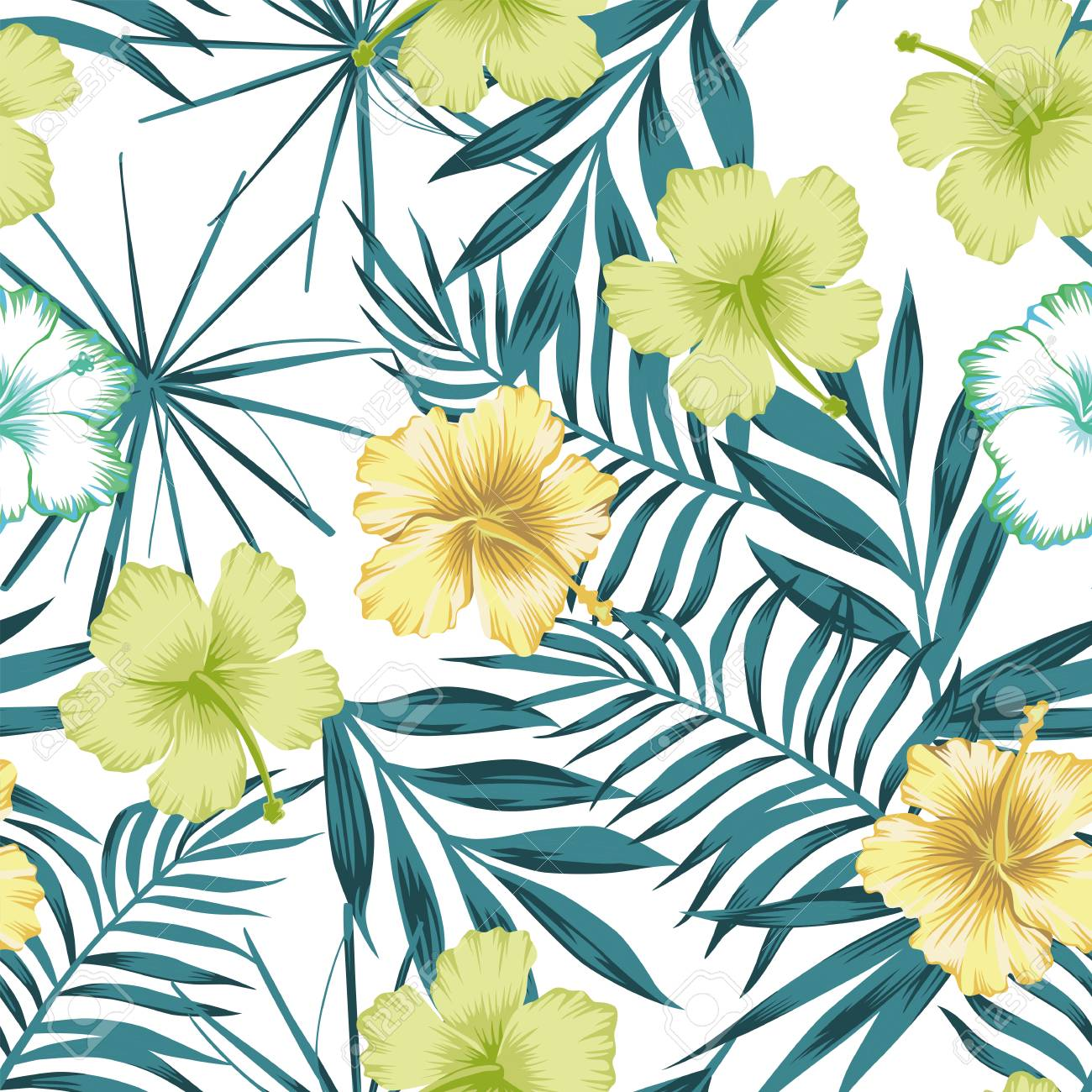 Trendy Beach Vector Wallpaper Lime Green Hibiscus On The Blue